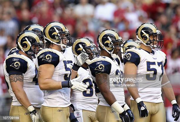 The St Louis Rams during the NFL game against the Arizona Cardinals at the University of Phoenix Stadium on December 5 2010 in Glendale Arizona