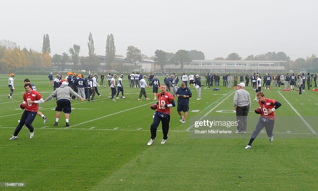 The St Louis Rams train at London Colney on October 24, 2012 in St Albans, England.
