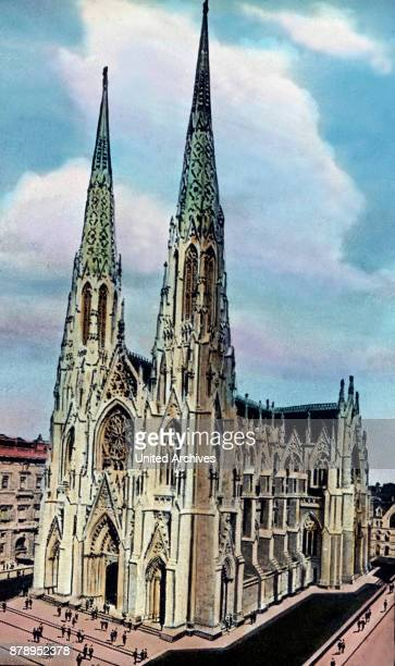 The St Patrick 's Cathedral in New York is directly across from Rockefeller Center
