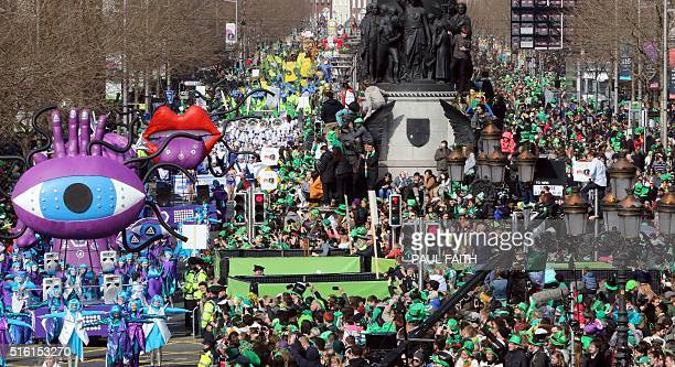 The St Patrick's day parade makes its way along O'Connell Street as the largest St Patrick's day celebrations in Ireland makes its way through Dublin...
