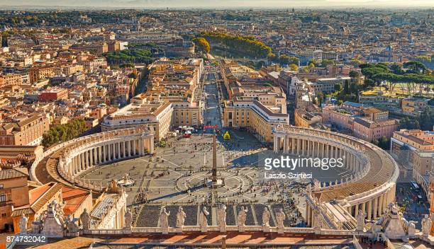 The St Peter's square and Rome are seen at the dome of St Peter's Basilica on November 1 2017 in Vatican City Vatican