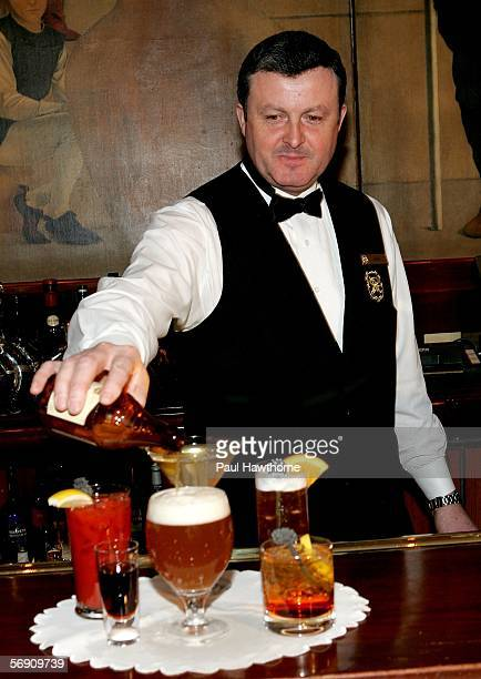 The St Regis Mixologist Mike Regan displays a 'Capote' Bloody Mary a 'Good Night Good Luck' Martini a 'Crash' LA Ice Tea a shot of Jagermeister with...