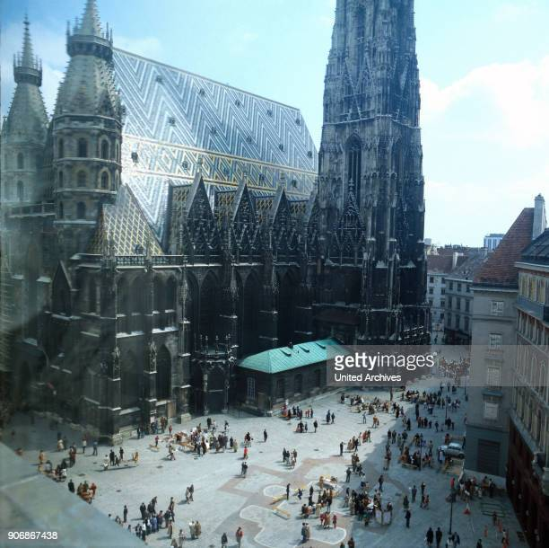 The St Stephen's Cathedral on St Stephen's Square in Vienna Austria 1980s