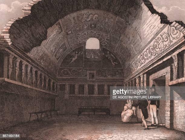 The Stabian Baths in Pompeii Campania Italy steel engraving from L'Italia la Sicilia le isole Eolie l'isola d'Elba la Sardegna Malta l'isola di...