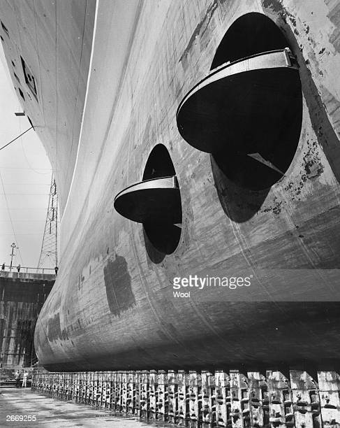 The stabilisers of the luxury Cunard liner QE2 in dry dock at Southampton The vessel has just completed five days of technical trials in the English...