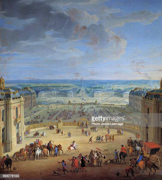 The Stables of the castle of Versailles, seen from the marble courtyard. Francoise d'Aubigne, Marquise de Maintenon , mistress of Louis XIV, about to...