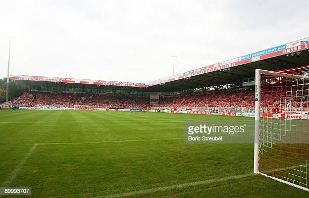 The stadium An der Alten Foersterei is shown prior to the Second Bundesliga match between 1. FC Union Berlin and Hansa Rostock at the stadium An der...