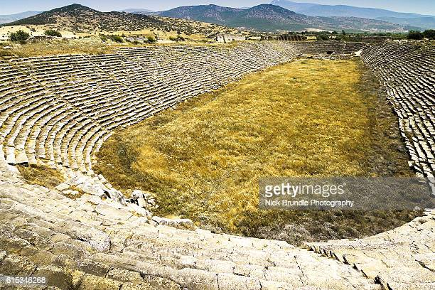 the stadium, aphrodisias, turkey. - priene stock photos and pictures
