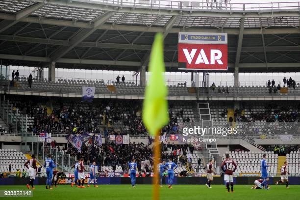 The stadium board shows the word 'VAR' during the Serie A football match between Torino FC and ACF Fiorentina ACF Fiorentina won 21 over Torino FC...