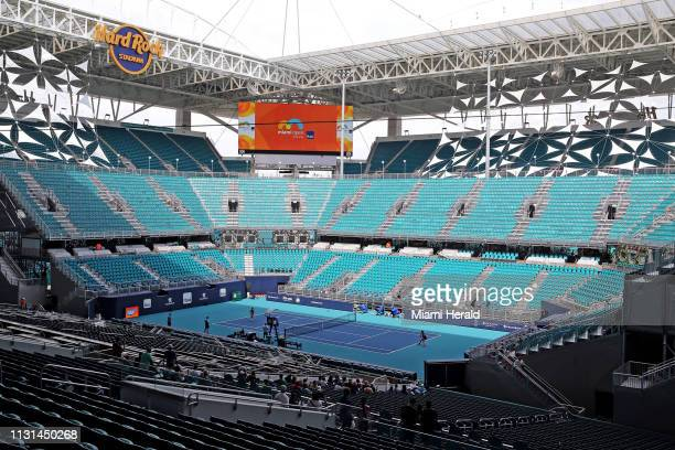 The stadium court in the middle of the field on Monday March 18 2019 at Hard Rock Stadium at the 2019 Miami Open in Miami Gardens Fla