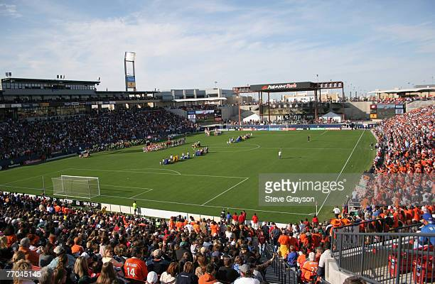 The stadium field during the 2006 MLS Cup between the New England Revolution and Houston Dynamo at Pizza Hut Park in Frisco Texas on November 12 2006