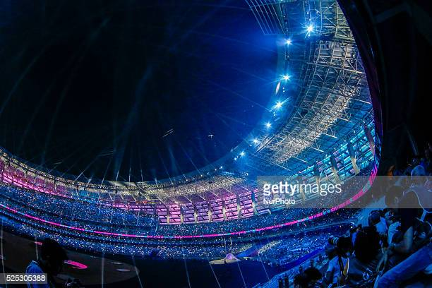 The stadium in a moment of the Closing Ceremony of the inaugural European Games at at Olympic Stadium on June 28, 2015 in Baku, Azerbaijan. .