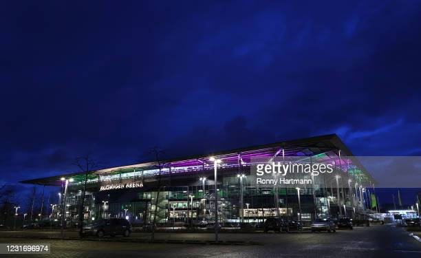 The stadium is illuminated in rainbow colours in supporting Diversity after the Bundesliga match between VfL Wolfsburg and FC Schalke 04 at...