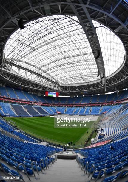 The stadium is prepared on July 1 2017 in Saint Petersburg Russia