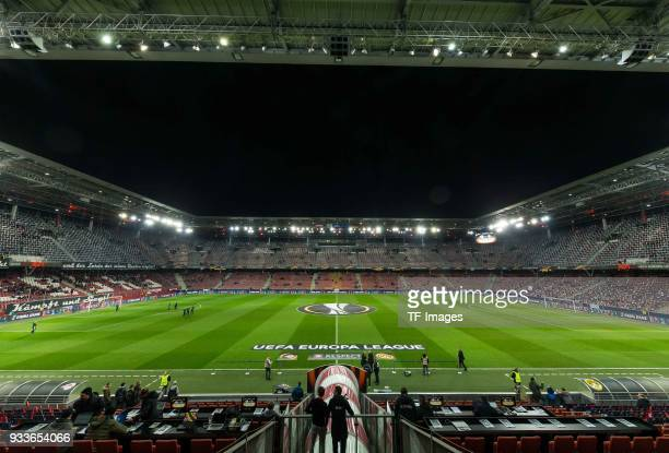 The stadium is seen from the inside prior to UEFA Europa League Round of 16 second leg match between FC Red Bull Salzburg and Borussia Dortmund at...