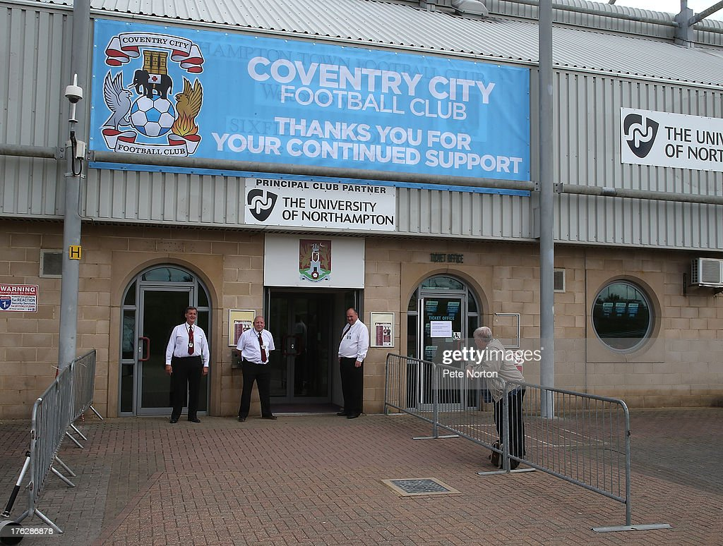 The Stadium main entrance is rebranded prior to the Sky Bet League One match between Coventry City and Bristol City at Sixfields Stadium on August 11, 2013 in Northampton, England.