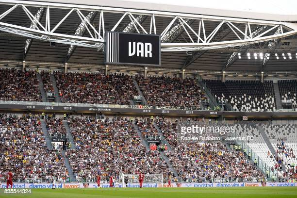 The Stadium monitors show the VAR allert during the Serie A match between Juventus and Cagliari Calcio at Allianz Stadium on August 19 2017 in Turin...