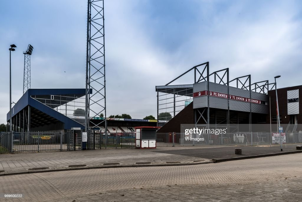 the stadium of FC Emmen during the Dutch Jupiler League play-offs final match between FC Emmen and Sparta Rotterdam at the JenS Vesting on May 17, 2018 in Emmen, The Netherlands