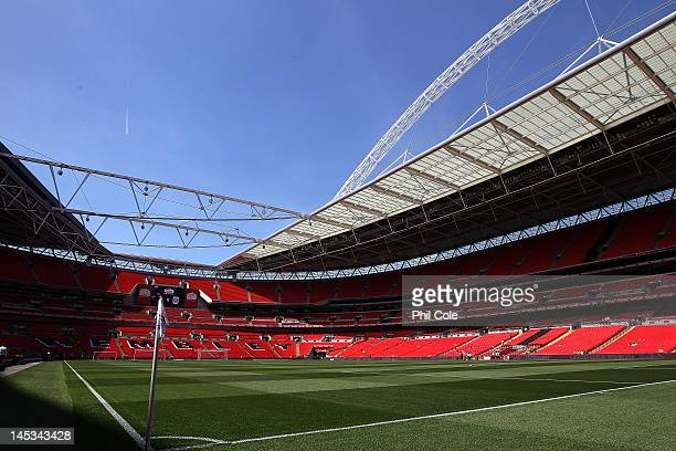 The stadium roof is open for the first time before the npower League two play-off final between Cheltenham Town and Crewe Alexandra at Wembley...