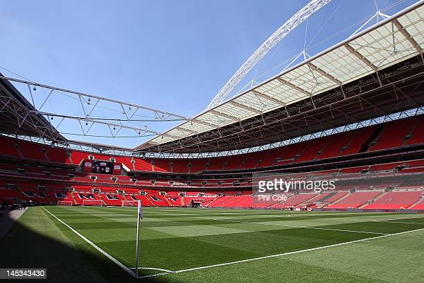 The stadium roof is open for the first time before the npower League two playoff final between Cheltenham Town and Crewe Alexandra at Wembley Stadium...