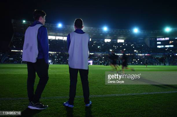 The stadium suffers a power outage as floodlights fail prior to the La Liga match between Real Valladolid CF and Real Madrid CF at Jose Zorrilla on...