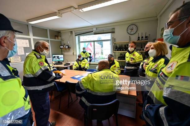 The staff of civil protection carry out the briefing before the emergency on October 15 2020 in Turin Italy The Emergency Piedmont Civil Protection...