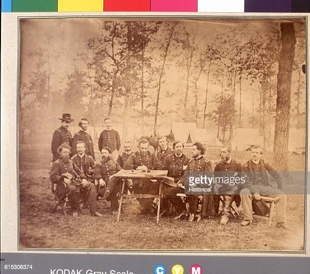 The staff of General George Thomas head of the Army of the Cumberland pose less than 48 hours from the beginning of the Atlanta Campaign in May 1864...