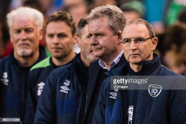 the staff of Ireland with coach Martin O'Neill of Irelandduring the friendly match between Ireland and Iceland on March 28 2017 at the Aviva stadium...