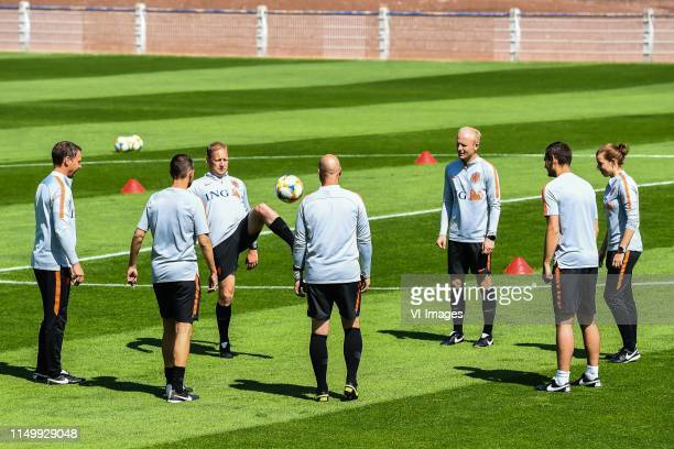 the staff of Netherlands women before the training during a training session prior to the FIFA Women's World Cup France 2019 group E match between...
