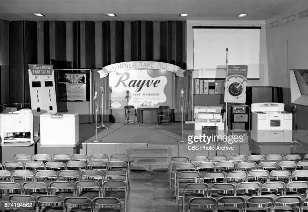 The stage and set of the CBS Radio game show Winner Take All Home appliance prizes on stage Image dated July 27 1949 New York NY