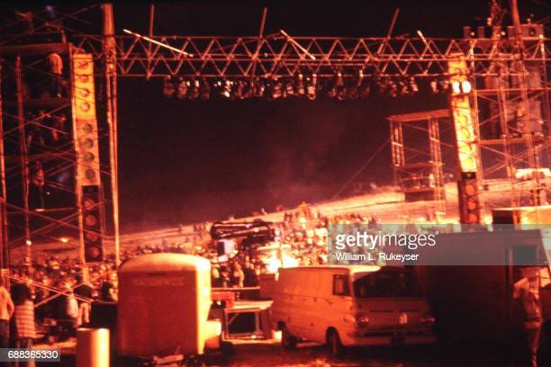 The stage and sound towers begin to take shape at the Altamont Speedway for the free concert to be headlined by the Rolling Stones
