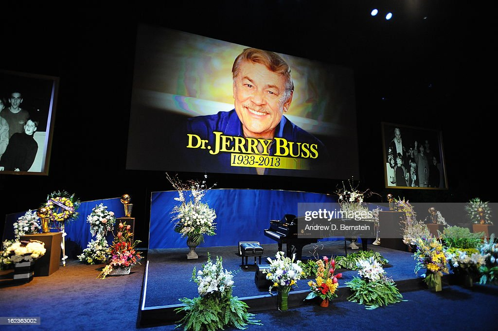 The stage at Nokia Theatre LA Live before the memorial service for Los Angeles Lakers Owner Dr. Jerry Buss on February 21, 2013 in Los Angeles, California.
