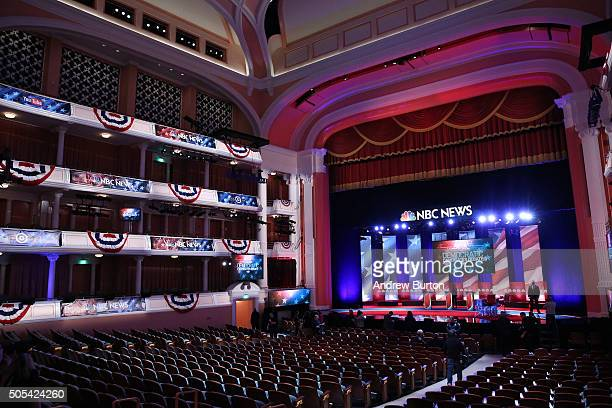 The stage at the Gaillard Center is prepared for tonight's Democratic debate on January 17 2016 in Charleston South Carolina Democratic presidential...