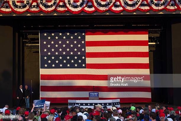 The stage before Republican Presidential candidate Donald Trump speaks at a campaign rally March 13 2016 in Boca Raton FL 'n