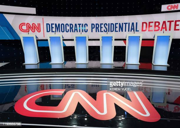 The stage for the seventh Democratic primary debate of the 2020 presidential campaign season cohosted by CNN and the Des Moines Register at the Drake...