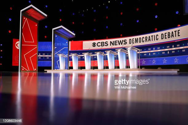 The stage for this evening's Democratic presidential debate is shown at the Gaillard Center on February 25 2020 in Charleston South Carolina Seven...