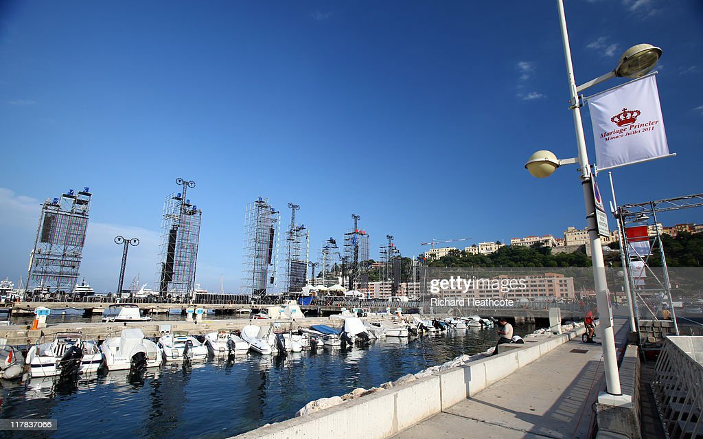 The stage is constructed in the harbour for the Jean Michel Jarre concert during preparations ahead of the Royal Wedding of Prince Albert II of Monaco to Charlene Wittstock on June 30, 2011 in Monaco. The civil ceremony will take place in the Throne Room of the Prince's Palace of Monaco on July 1, followed by a religious ceremony to be conducted in the main courtyard of the Palace on July 2. With her marriage to the head of state of Principality of Monaco, Charlene Wittstock will become Princess consort of Monaco and gain the title, Princess Charlene of Monaco. Celebrations including concerts and firework displays are being held across several days, attended by a guest list of global celebrities and heads of state.