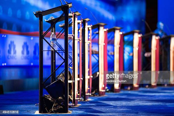 The stage is prepared for the CNBC Republican presidential debate at the University of Colorado on October 27 2015 in Boulder Colorado The 14...