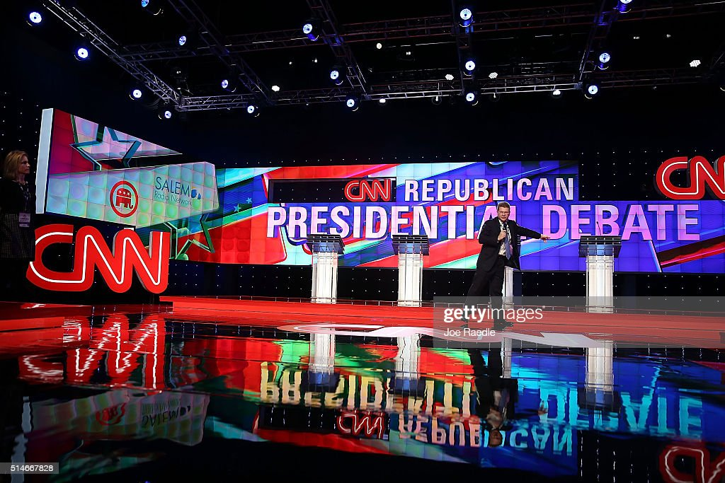 The stage is prepared for the CNN, Salem Media Group, The Washington Times Republican Presidential Primary Debate which will feature the four remaining Republican candidates, Sen. Marco Rubio (R-FL), Donald Trump, Sen. Ted Cruz (R-TX), and Ohio Gov. John Kasich on the University of Miami on March 10, 2016 in Coral Gables, Florida. The candidates continue to campaign before the March 15th Florida primary.