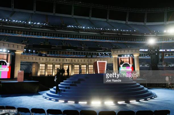 The stage is ready for US Democratic presidential nominee Sen Barack Obama's acceptance speech tomorrow at Invesco Field on day three of the...
