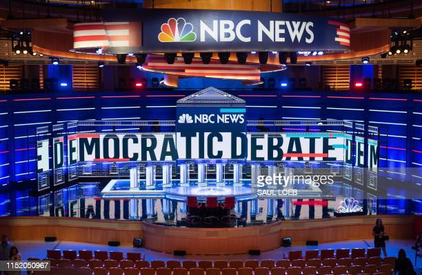 TOPSHOT The stage is seen prior to the first Democratic primary debate of the 2020 presidential campaign season at the Adrienne Arsht Center for the...