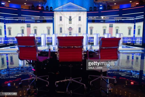 The stage is seen prior to the first Democratic primary debate of the 2020 presidential campaign season at the Adrienne Arsht Center for the...