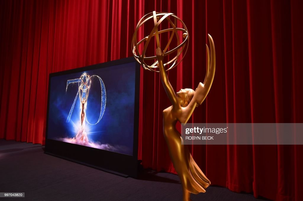 The stage is set ahead of the nominations announcement for the 70th Emmy Awards on July 12, 2018 at the Television Academy's Wolf Theatre in North Hollywood, California. - The Emmy Awards will take place September 17, 2018 at the Microsoft Theater in Los Angeles.