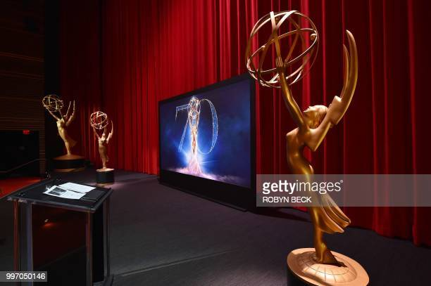 The stage is set ahead of the nominations announcement for the 70th Emmy Awards on July 12 2018 at the Television Academy's Wolf Theatre in North...