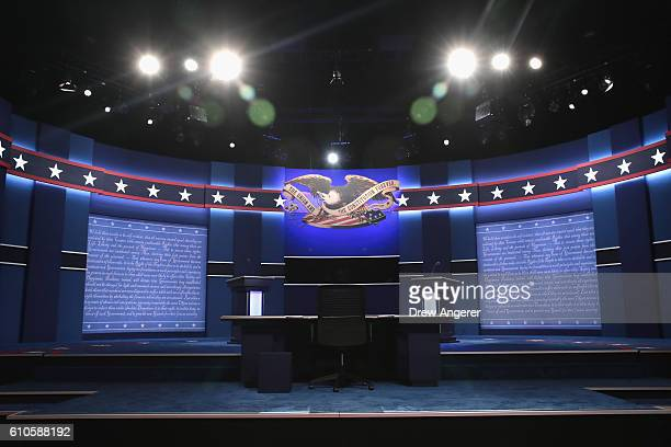 The stage is set ahead of the Presidential Debate between Democratic presidential nominee Hillary Clinton and Republican presidential nominee Donald...