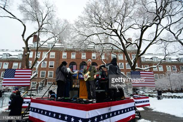 The stage is set as Bernie Sanders supporters wait ahead of the 2020 campaign kickoff rally at Brooklyn Collage in Brooklyn New York on March 2 2019...