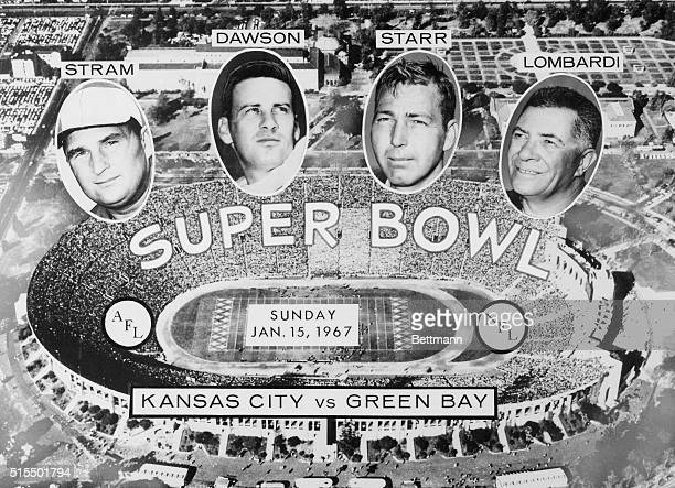 The stage is set at Los Angeles Memorial Coliseum for the Super Bowl starring quarterbacks Len Dawson of the American Football League's Kansas City...