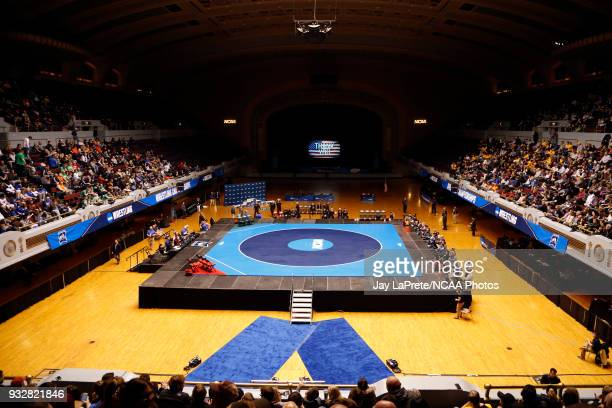 The stage is set for competition to begin at the Division III Men's Wrestling Championship held at the Cleveland Public Auditorium on March 10 2018...