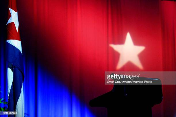 The stage is set for Fidel Castro to speak during a ceremony celebrating the inauguration of emergency classes for high school teachers in the...