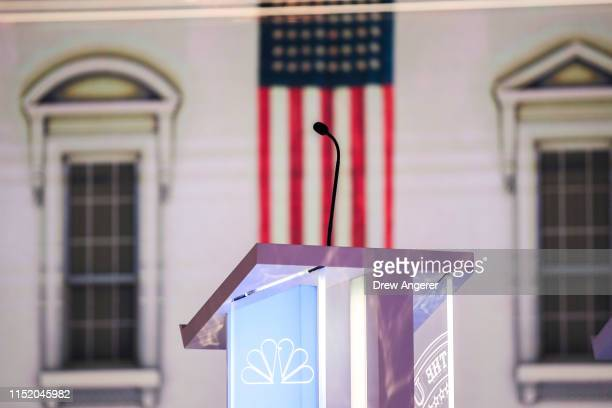The stage is set for the first Democratic presidential primary debate for the 2020 election at the Adrienne Arsht Center for the Performing Arts June...